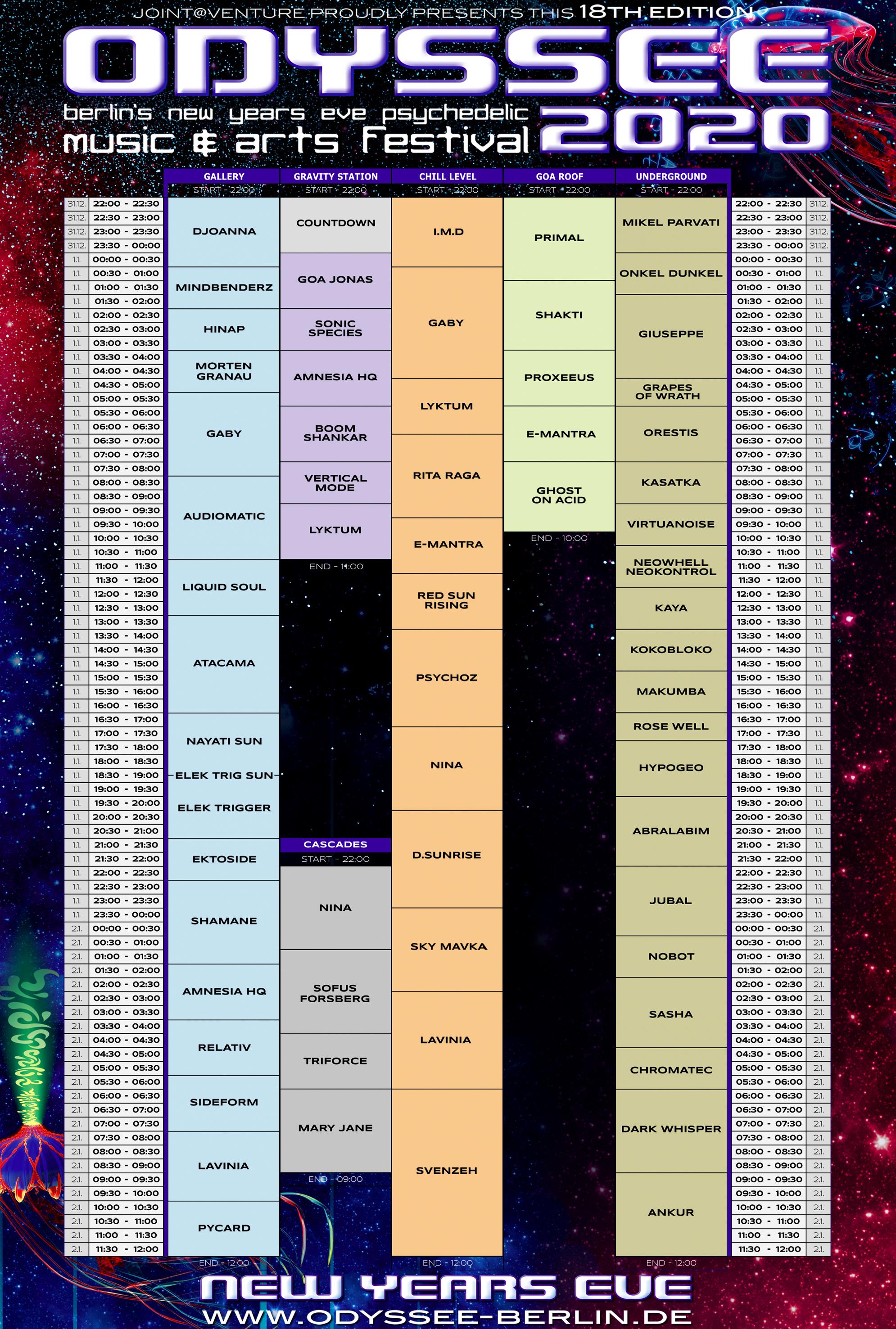 Odyssee 2020 Timetable BIG