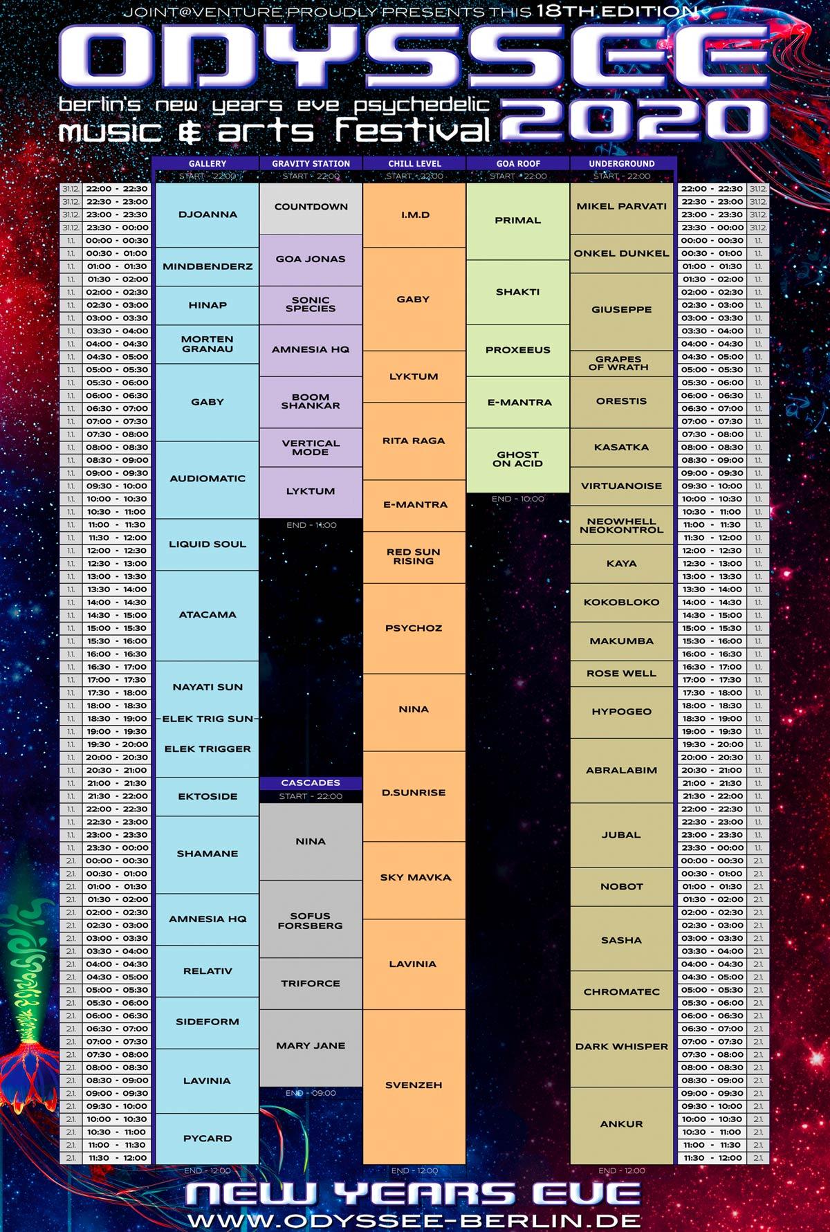 Odyssee 2020 Timetable